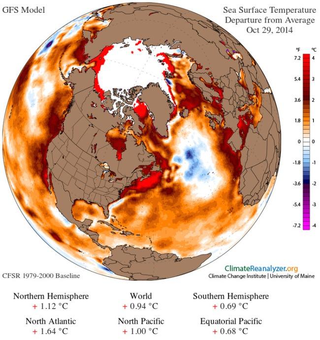 Sea surface temp anomaly 29 Octoebr 2014