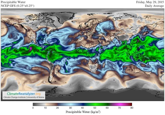 Global precipitable water 29 May 2015