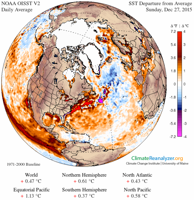 SST Anomaly Dec 27 2015