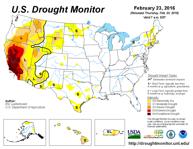 Drought Monitor 26 February 2016
